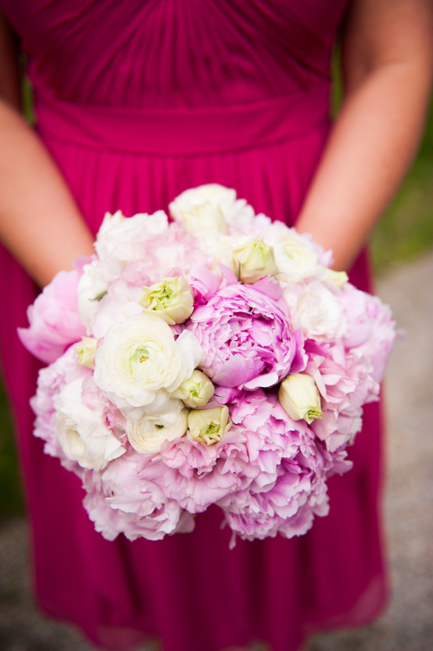 Beautiful Blooms Lorraine Daley Meadowlands Country Club Bridesmaid Bouquet Peonies Ranunculus Pink and White