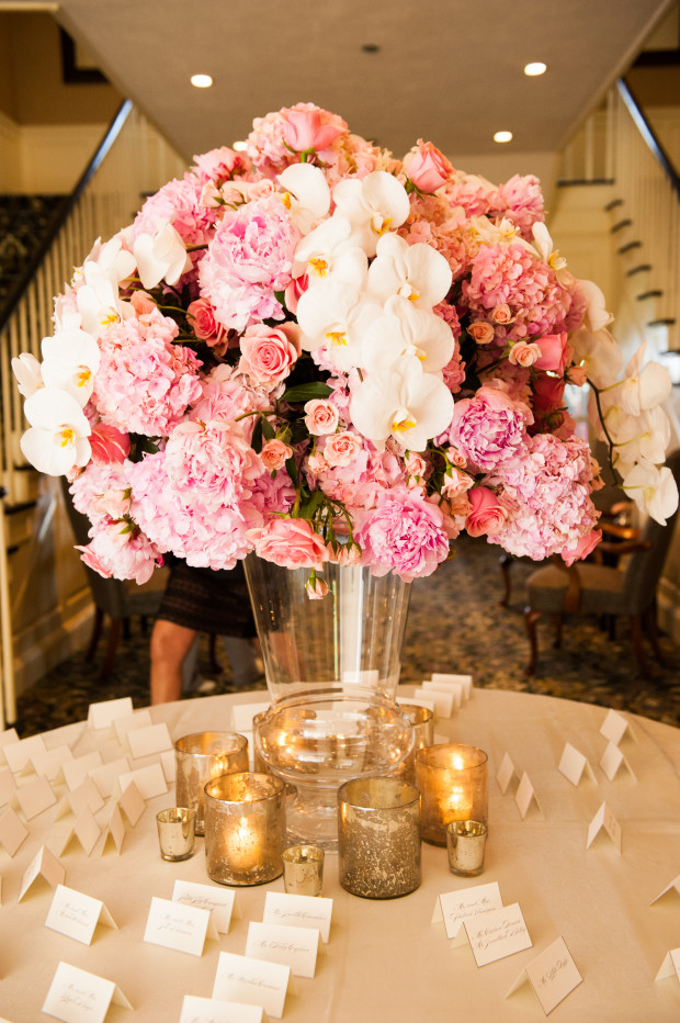 Beautiful Blooms Lorraine Daley Meadowlands Country Club Escort Card Table Pink and White Flowers Hydrangea Peonies Orchids Mercury