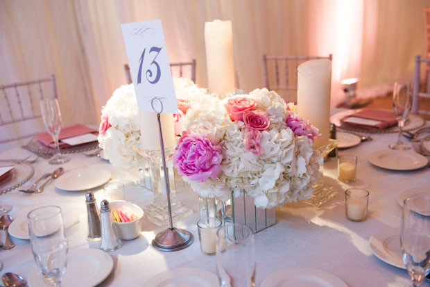 Beautiful Blooms Lorraine Daley Meadowlands Country Club Low Centerpiece Mirrored Containers Peonies Roses Hydrangea