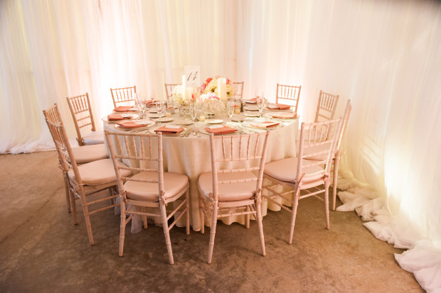 Beautiful Blooms Lorraine Daley Meadowlands Country Club Low Centerpiece Pink and White Flowers Draping