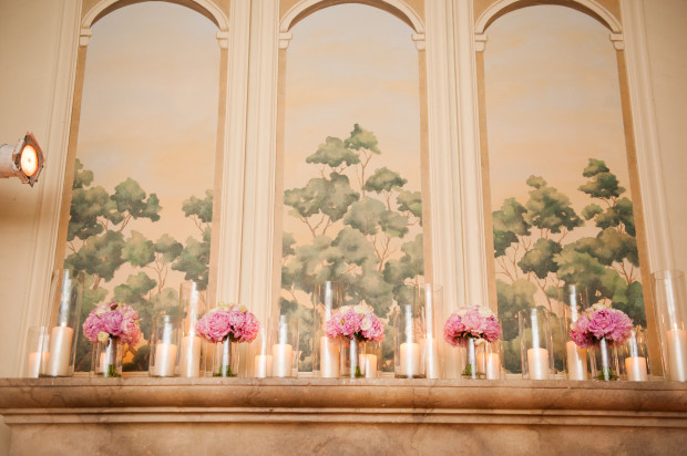 Beautiful Blooms Lorraine Daley Meadowlands Country Club Mantle Candles and Flowers Peonies