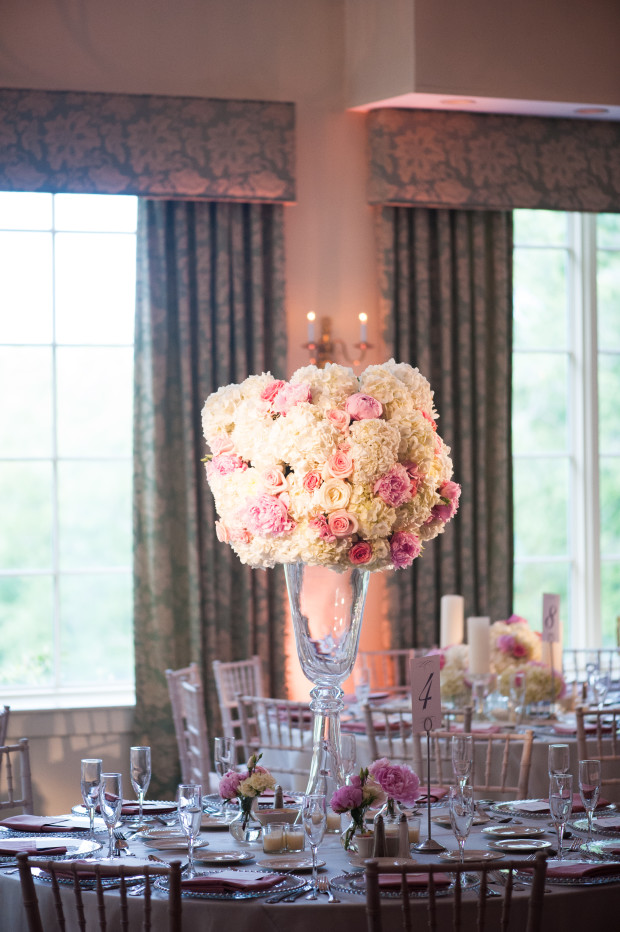 Beautiful Blooms Lorraine Daley Meadowlands Country Club Tall Centerpiece Hydrangea Roses Peonies Pink and White