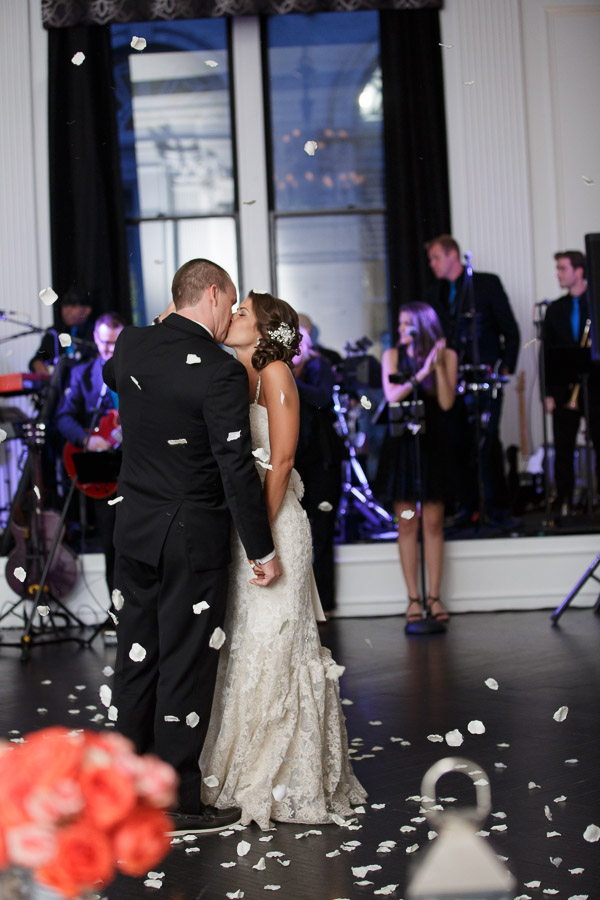 Beautiful Blooms Joe Pulcinella Photography The Down Town Club Petal Cannon Bride and Groom Wedding Reception