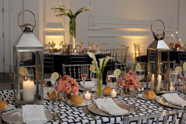 Beautiful Blooms Joe Pulcinella Photography The Down Town Club Rectangle Tables Lanterns Nautical Peach Roses