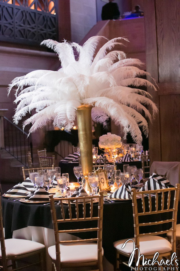 Beautiful Blooms Michael's Photography Union Trust Wedding Feather Centerpiece Black and White Stripe Gold Ivory